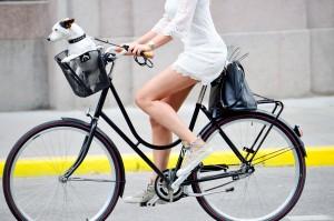 Side shot of woman on bike