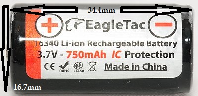 RCR123 lithium battery