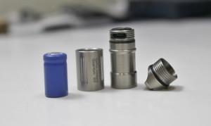 Battery, tube, bezel & tail cap