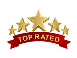 top rated 5 stars with red ribbon